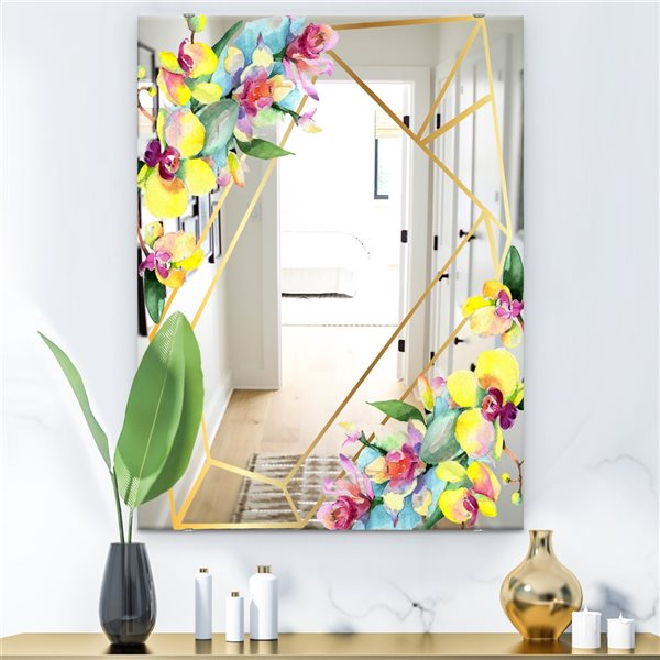 Designart Efflorescent Gold Simple 13 Rectangular35.4-in L x23.6-in W Polished Country Yellow Wall Mounted Mirror