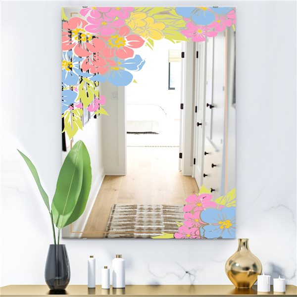Designart Garland Sweet18 Rectangular35.4-in L x23.6-in W Polished Country Pink Wall Mounted Mirror