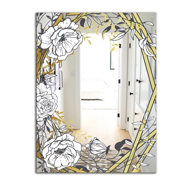 Designart Gold Botanical Blooming 4 Rectangular35.4-in L x23.6-in W Polished Country White Wall Mounted Mirror