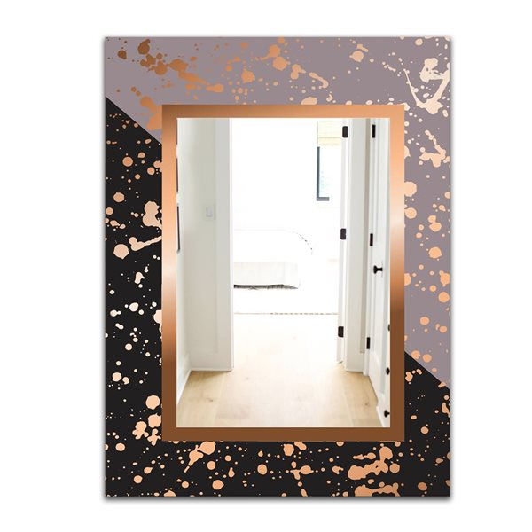 Designart Playful Gold7 Rectangular 35.4-in L x23.6-in W Polished Glam Wall Mounted Mirror