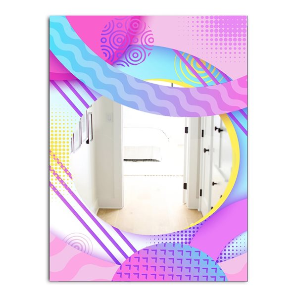 Designart Spacy Dimensions10 Rectangular 35.4-in L x23.6-in W Polished Mid-Century Pink Wall Mounted Mirror