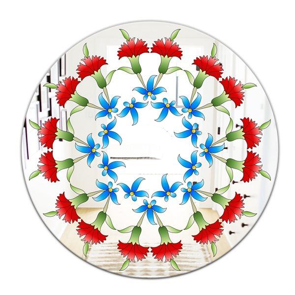 Designart Ottoman Red Flower Garland Round 24-in L x24-in W Polished Farmhouse Wall Mounted Mirror