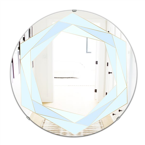 Designart Pastel Dreams8 Round 24-in L x24-in W Polished Mid-Century Blue Wall Mounted Mirror
