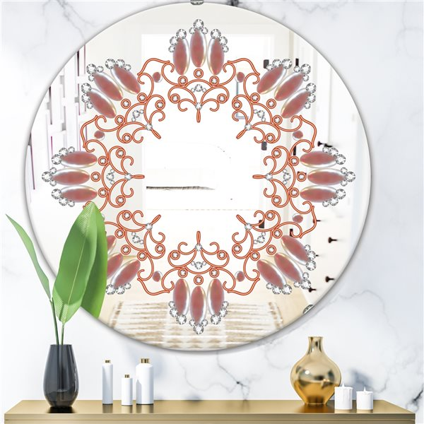 Designart Neutral Color Pattern Round 24-in L x24-in W Polished Glam Bronze Wall Mounted Mirror