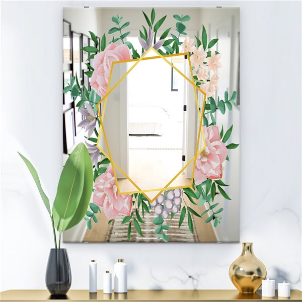 Designart Efflorescent Gold Pink 2 Rectangular 35.4-in L x23.6-in W Polished Country Wall Mounted Mirror