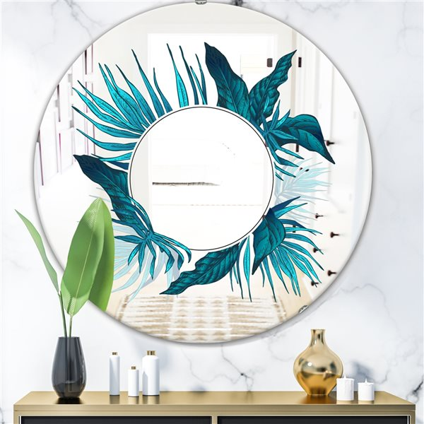 Designart Tropical Leaves Round 24-in L x24-in W Polished Country Blue Wall Mounted Mirror