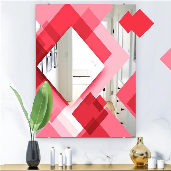 Designart Triangular Red2 Rectangular 35.4-in L x23.6-in W Polished Modern Wall Mounted Mirror