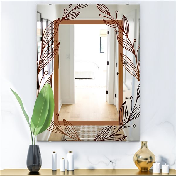 Designart Golden Flowers Rectangular35.4-in L x23.6-in W Polished Glam Blue Wall Mounted Mirror