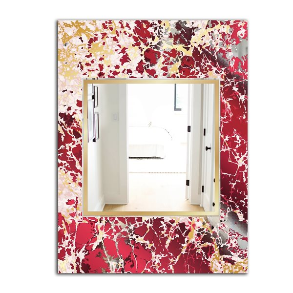 Designart Marbled Marvellous 9 Rectangular35.4-in L x23.6-in W Polished Glam Gold Wall Mounted Mirror