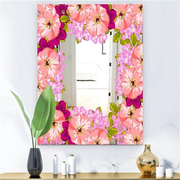 Designart Garland Vivid 7 Rectangular 35.4-in L x23.6-in W Polished Farmhouse Pink Wall Mounted Mirror