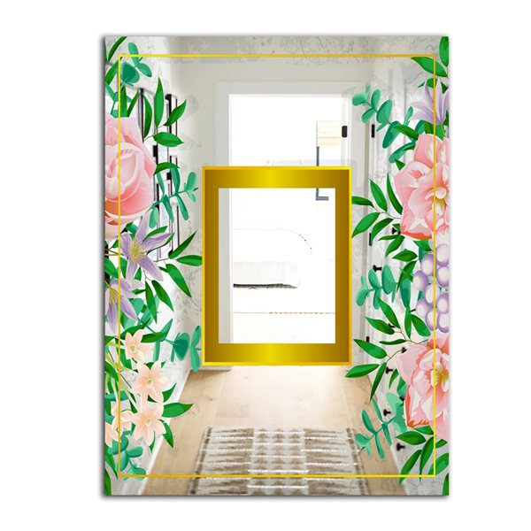 Designart Efflorescent Gold Pink 10 Rectangular35.4-in L x23.6-in W Polished Glam Wall Mounted Mirror
