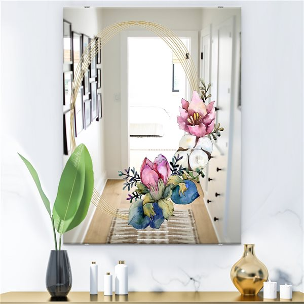 Designart Efflorescent Gold Simple 15 Rectangular35.4-in L x23.6-in W Polished Country Pink Wall Mounted Mirror
