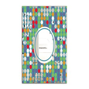 Designart Hexagons Rectangular 35.4-in L x23.6-in W Polished Mid-Century Green/Blue Wall Mounted Mirror