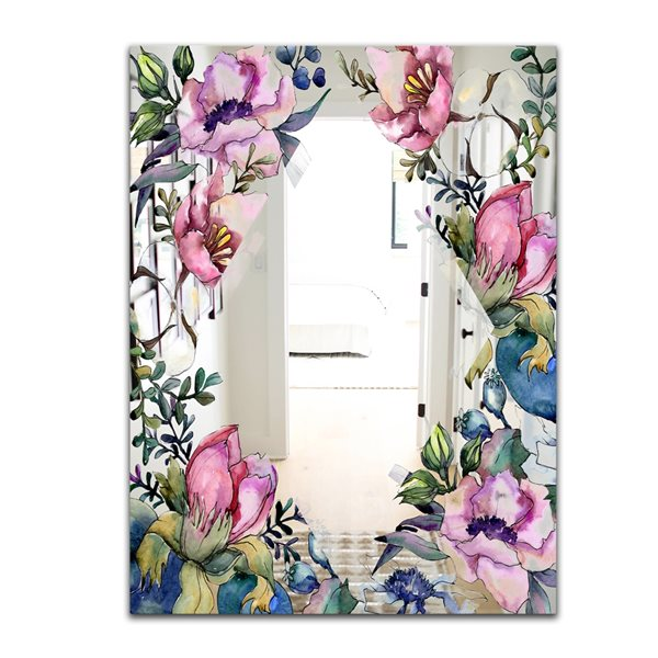 Designart Garland Sweet25 Rectangular35.4-in L x23.6-in W Polished Country Pink Wall Mounted Mirror