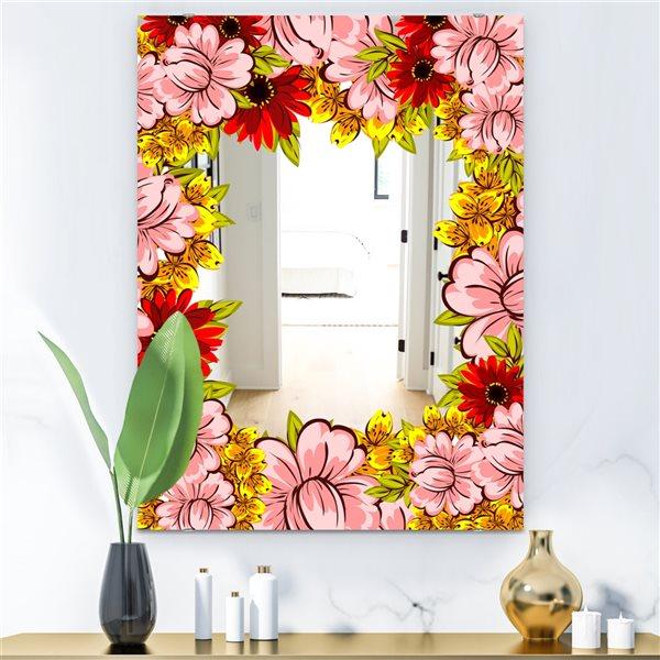 Designart Garland Vivid 1 Rectangular 35.4-in L x23.6-in W Polished Farmhouse Pink Wall Mounted Mirror