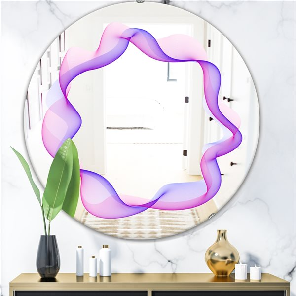 Designart Abstract Round Round 24-in L x24-in W Polished Modern Purple Wall Mounted Mirror