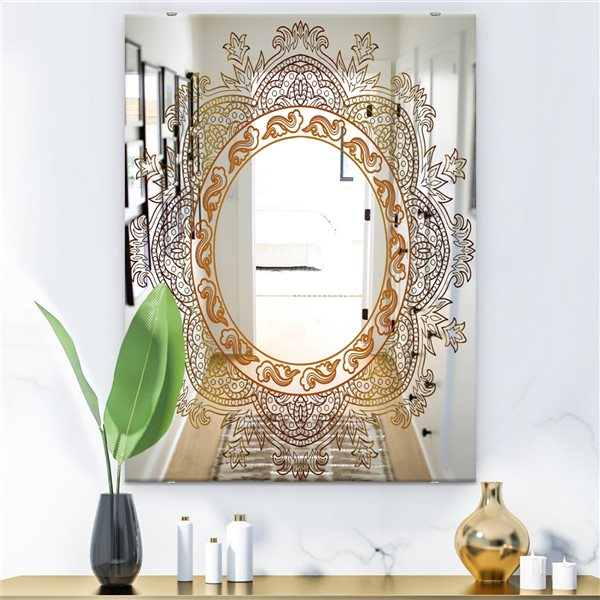 Designart Buddha Mandala Rectangular 35.4-in L x23.6-in W Polished Country Purple/Orange Wall Mounted Mirror