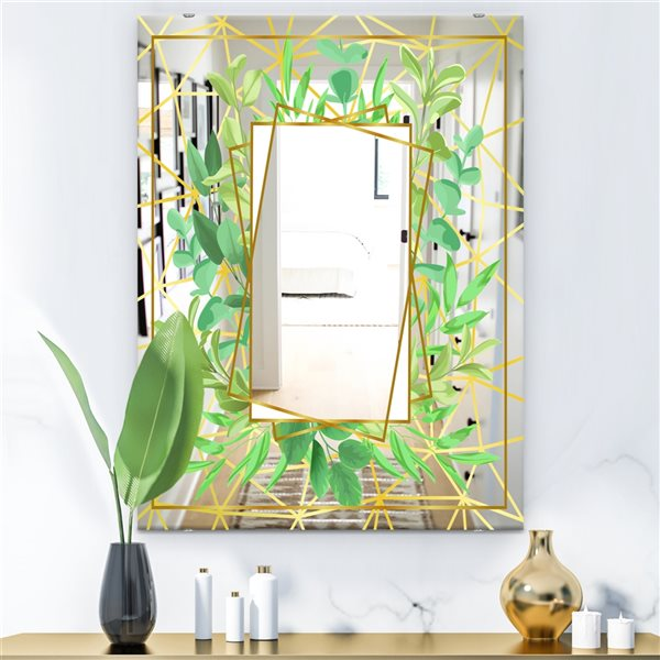 Designart Efflorescent Gold Green5 Rectangular35.4-in L x23.6-in W Polished Country Wall Mounted Mirror