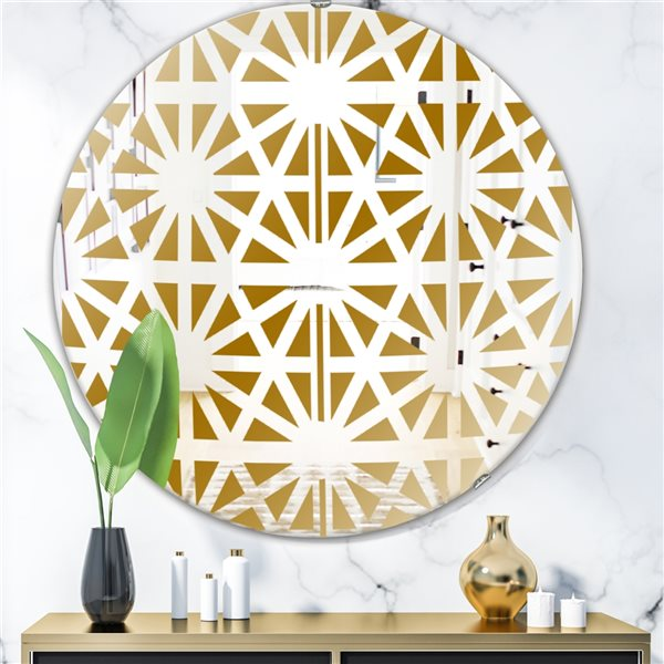 Designart Geometry Pattern Round 24-in L x24-in W Polished Glam Gold Wall Mounted Mirror