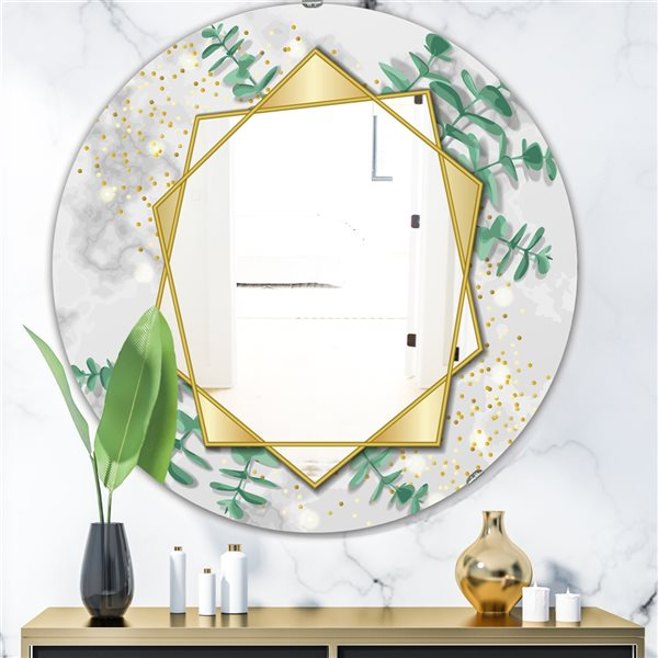 Designart Glamorous Eucalyptus Tree Round 24-in L x24-in W Polished Glam Gold Wall Mounted Mirror