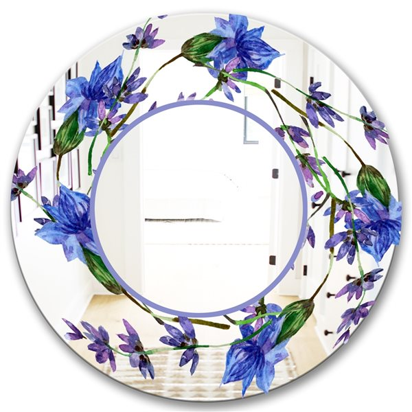 Designart Lavender Flowers Round 24-in L x24-in W Polished Country Blue/Purple Wall Mounted Mirror