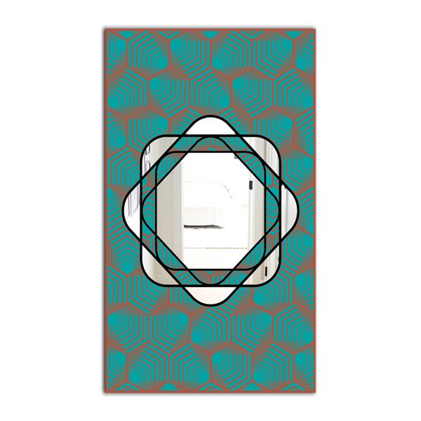 Designart Monochrome Hipster Fashion Design Rectangular 35.4-in L x23.6-in W Polished Mid-Century Blue Wall Mounted Mirror