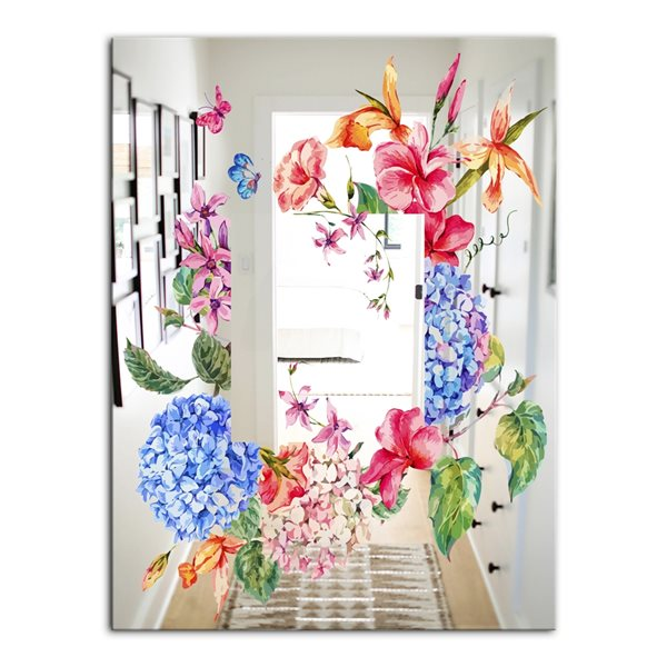 Designart Garland Sweet5 Rectangular 35.4-in L x23.6-in W Polished Country Blue Wall Mounted Mirror