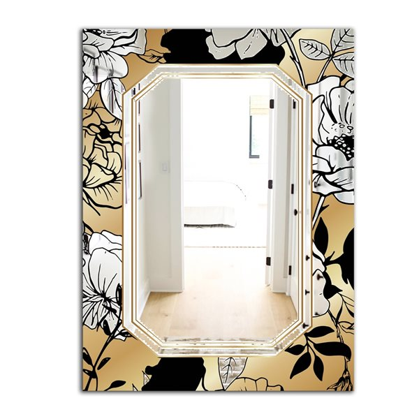 Designart Gold Botanical Obsidian3 Rectangular35.4-in L x23.6-in W Polished Glam Gold Wall Mounted Mirror