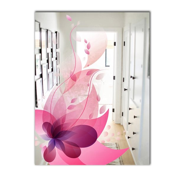 Designart Blossom Rectangular 35.4-in L x23.6-in W Polished Country Pink Wall Mounted Mirror