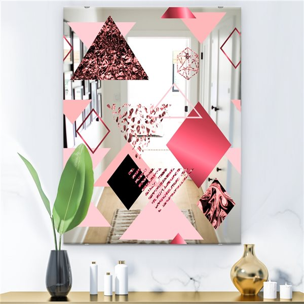 Designart Triangular Spacy Spheres3 Rectangular 35.4-in L x23.6-in W Polished Mid-Century Pink Wall Mounted Mirror