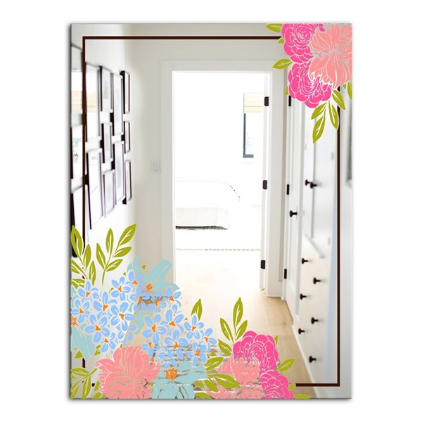 Designart Garland Sweet30 Rectangular35.4-in L x23.6-in W Polished Country Pink Wall Mounted Mirror