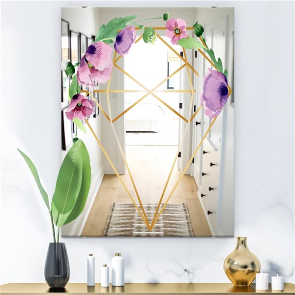 Designart Efflorescent Gold Simple 6 Rectangular35.4-in L x23.6-in W Polished Country Wall Mounted Mirror