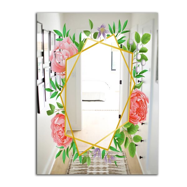 Designart Efflorescent Gold Pink 5 Rectangular35.4-in L x23.6-in W Polished Farmhouse Wall Mounted Mirror
