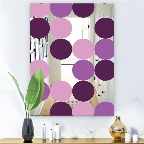 Designart Circular Rhythm6 Rectangular35.4-in L x23.6-in W Polished Mid-Century Purple Wall Mounted Mirror