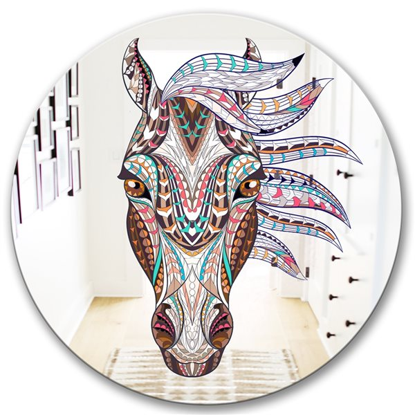 Designart Colorful Mosaic Horse Round 24-in L x24-in W Polished Farmhouse Pink Wall Mounted Mirror