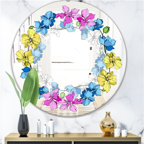 Designart Orchids Round 24-in L x24-in W Polished Country Yellow/Blue/Pink Wall Mounted Mirror