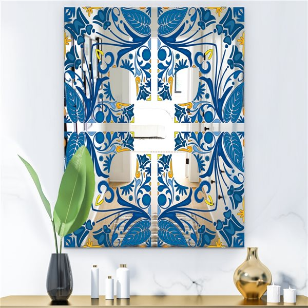 Designart Tiles Rectangular 35.4-in L x23.6-in W Polished Eclectic Blue Wall Mounted Mirror