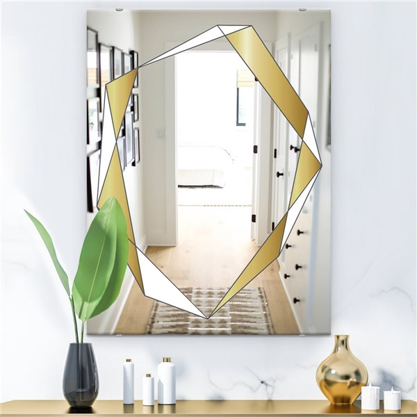 Designart Capital Gold Essential 10 Rectangular35.4-in L x23.6-in W Polished Glam Wall Mounted Mirror
