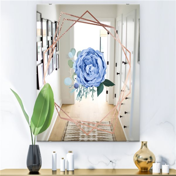 Designart Elementary Botanicals12 Rectangular35.4-in L x23.6-in W Polished Country Blue Wall Mounted Mirror