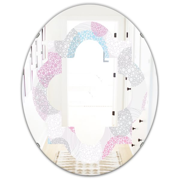 Designart Circular Abstract Retro Geometric III Grey Oval 31.5-in L x23.7-in W Polished Modern Wall Mounted Mirror