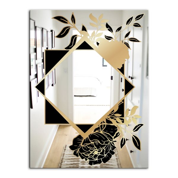 Designart Gold Botanical Obsidian4 Rectangular35.4-in L x23.6-in W Polished Glam Gold Wall Mounted Mirror