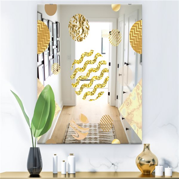 Designart Capital Gold Lively 6 Rectangular 35.4-in L x23.6-in W Polished Mid-Century Wall Mounted Mirror