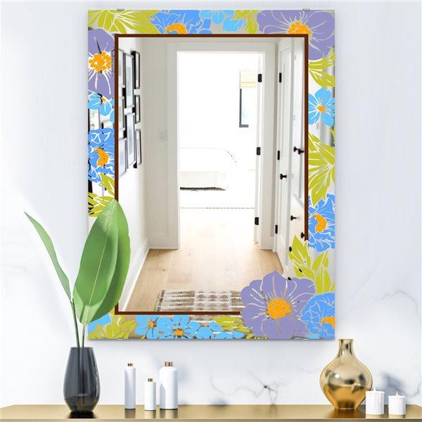 Designart Garland Sweet27 Rectangular35.4-in L x23.6-in W Polished Farmhouse Blue Wall Mounted Mirror