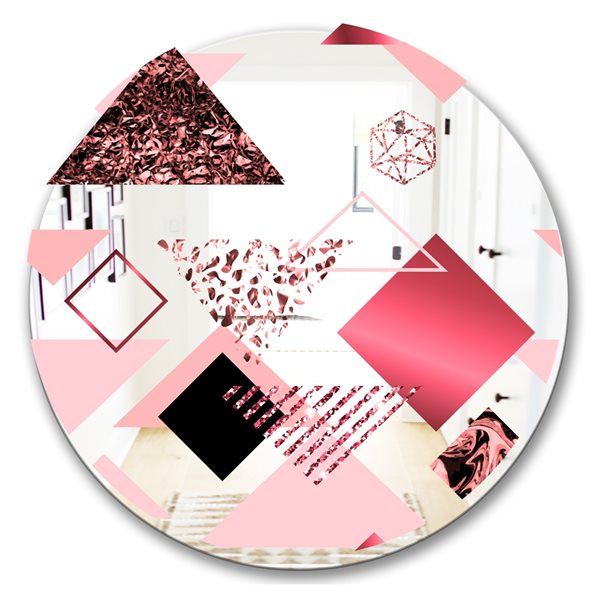Designart Triangular Spacy Spheres3 Round 24-in L x24-in W Polished Mid-Century Pink Wall Mounted Mirror