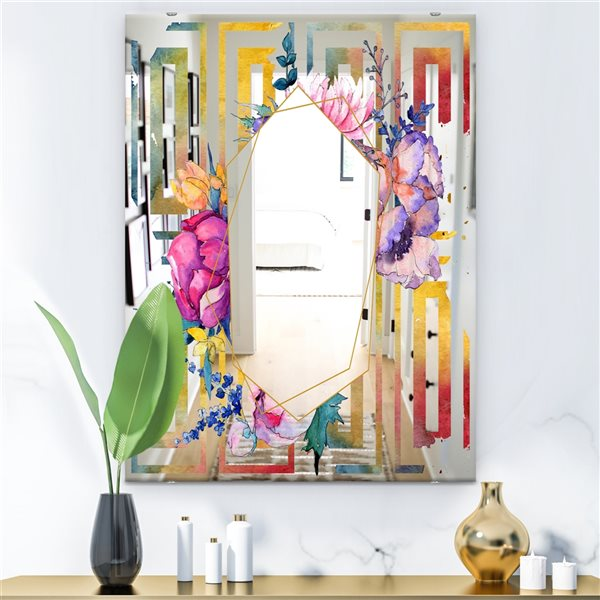 Designart Elementary Botanicals11 Rectangular35.4-in L x23.6-in W Polished Mid-Century Multicolour Wall Mounted Mirror