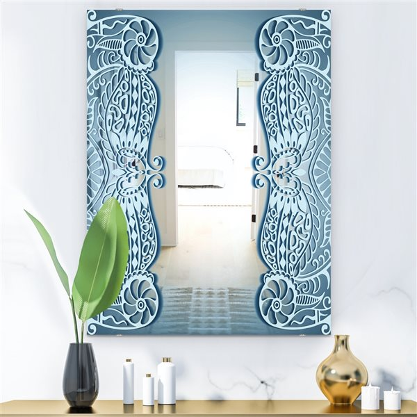 Designart Look at Me Rectangular35.4-in L x23.6-in W Polished Mid-Century Light Blue Wall Mounted Mirror