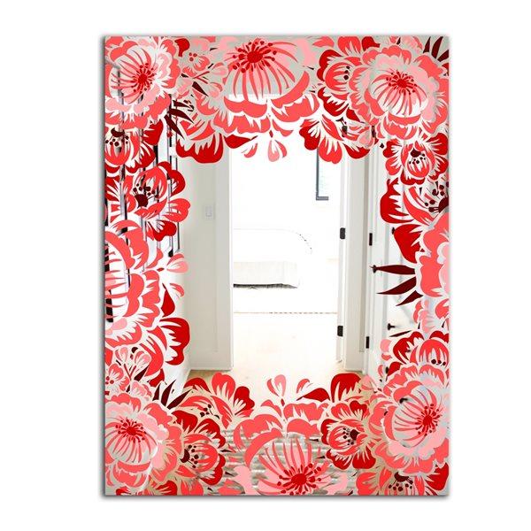 Designart Garland Vivid 5 Rectangular 35.4-in L x23.6-in W Polished Farmhouse Red Wall Mounted Mirror