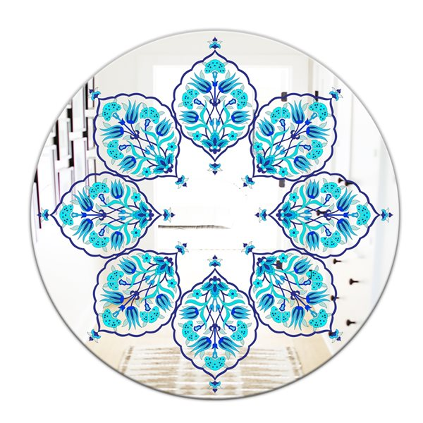 Designart Leaves Round 24-in L x24-in W Polished Eclectic Blue Wall Mounted Mirror