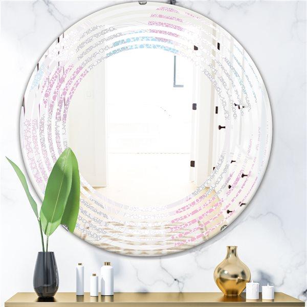 Designart Circular Abstract Retro Geometric III Grey Round 24-in L x24-in W Polished Modern Wall Mounted Mirror