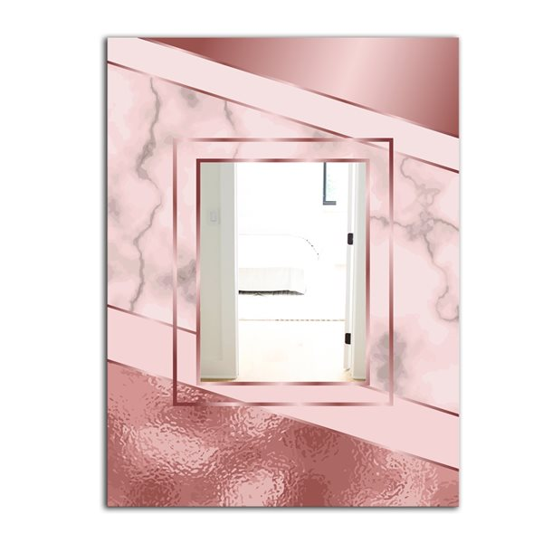 Designart Marbled Marvellous 7 Rectangular35.4-in L x23.6-in W Polished Glam Gold Wall Mounted Mirror